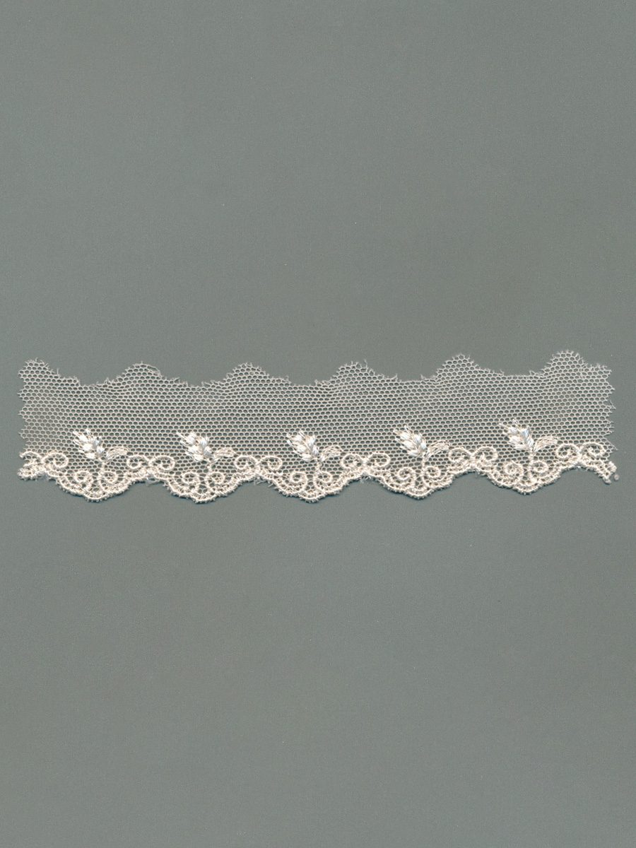 Embroidered Cotton Tulle Trim