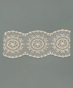 Vintage Embroidered Cotton Tulle Lace