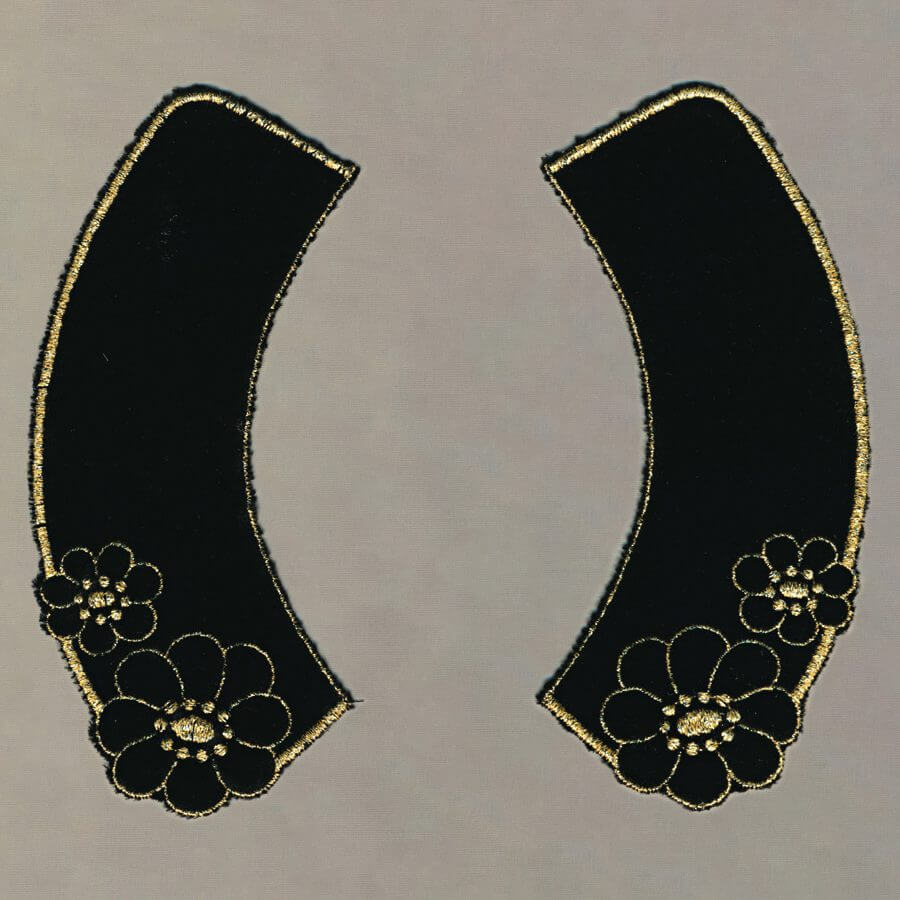 Velvet Collar Embroidered